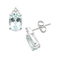 10k White Gold Aquamarine & Diamond Accent Stud Earrings