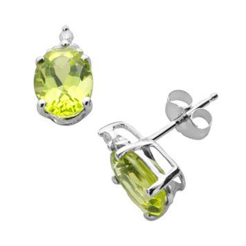 10k White Gold Peridot & Diamond Accent Stud Earrings