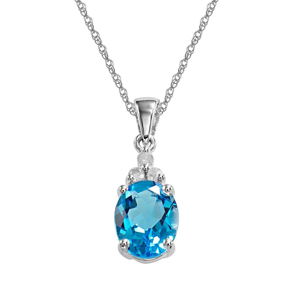 10k White Gold Blue Topaz & Diamond Accent Pendant