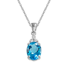 10k White Gold Blue Topaz and Diamond Accent Pendant