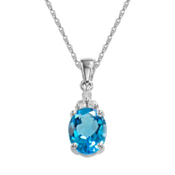 10k White Gold Blue Topaz and Diamond Accent Pendant