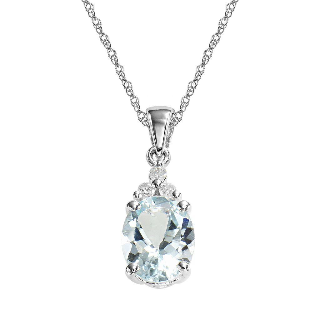 10k White Gold Aquamarine & Diamond Accent Pendant