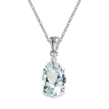 10k White Gold Aquamarine and Diamond Accent Pendant