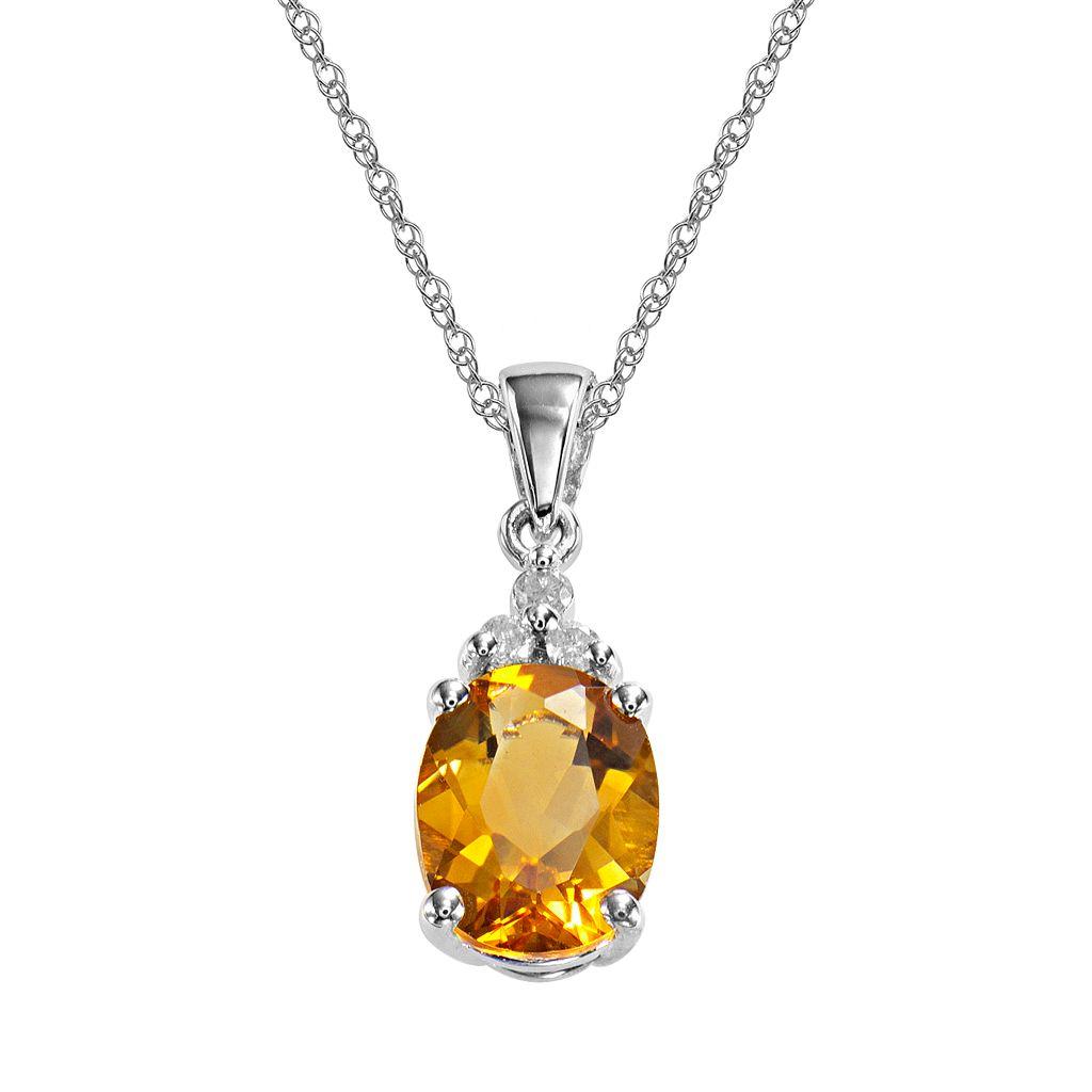 10k White Gold Citrine & Diamond Accent Pendant