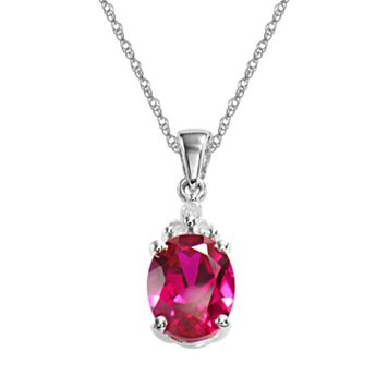 10k White Gold Lab-Created Ruby & Diamond Accent Pendant