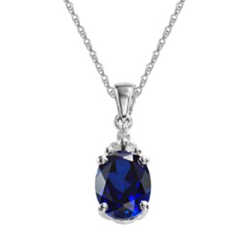 10k White Gold Lab-Created Sapphire and Diamond Accent Pendant