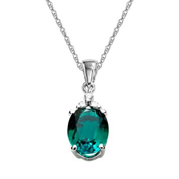 10k White Gold Lab-Created Emerald & Diamond Accent Pendant