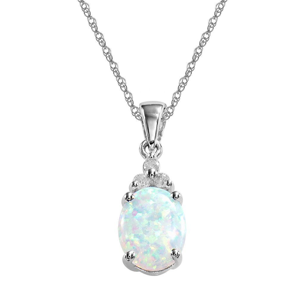 10k White Gold Lab-Created Opal & Diamond Accent Pendant