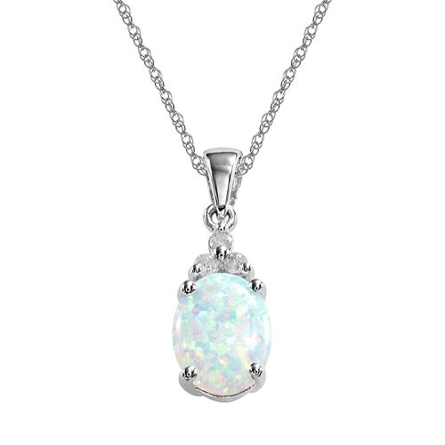 10k White Gold Lab-Created Opal & Diamond Accent Pendant