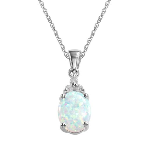10k White Gold Lab-Created Opal and Diamond Accent Pendant