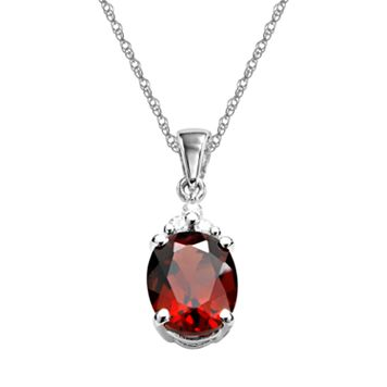 10k White Gold Garnet & Diamond Accent Pendant