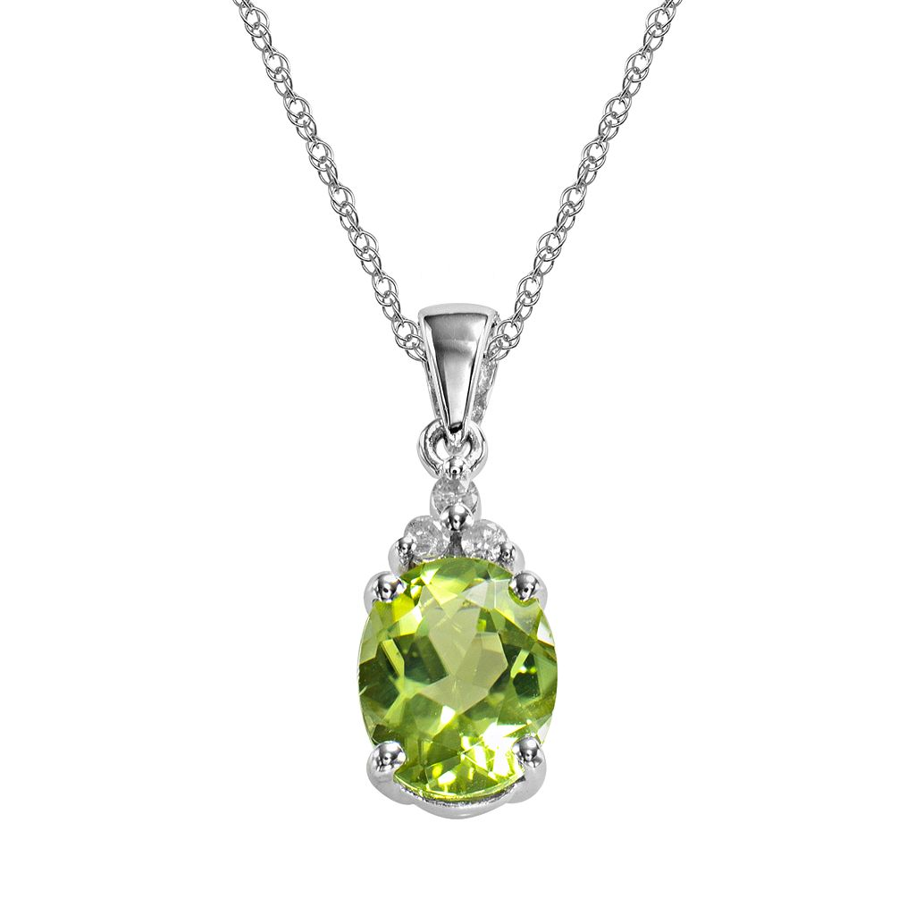10k White Gold Peridot & Diamond Accent Pendant