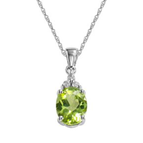 10k White Gold Peridot and Diamond Accent Pendant