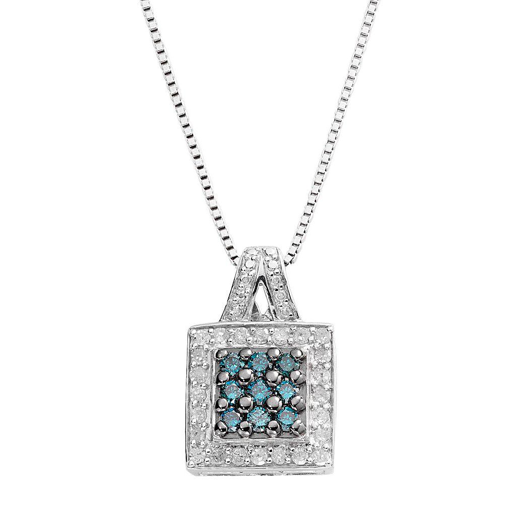 Sterling Silver 1/2-ct. T.W. Blue & White Diamond Square Pendant