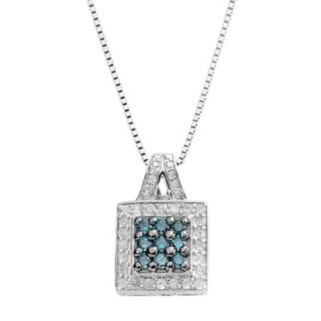 Sterling Silver 1/2-ct. T.W. Blue and White Diamond Square Pendant
