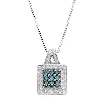 Sterling Silver 1/2-ct. T.W. Blue & White Diamond Square Pendant