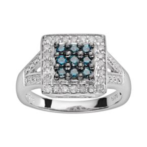 Sterling Silver 1/2-ct. T.W. Blue and White Diamond Square Ring