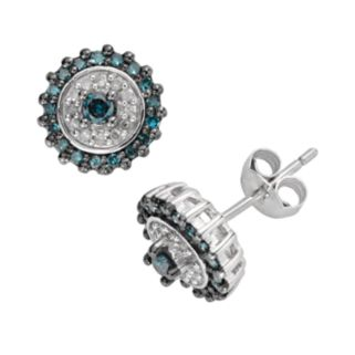 Sterling Silver 1/3-ct. T.W. Blue and White Diamond Round Stud Earrings