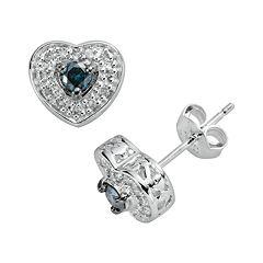 Sterling Silver 1/3 ctT.W. Blue & White Diamond Heart Stud Earrings