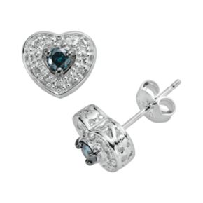 Sterling Silver 1/3-ct. T.W. Blue and White Diamond Heart Stud Earrings