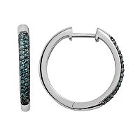 Sterling Silver 1/4-ct. T.W. Blue Diamond Hoop Earrings