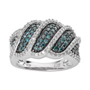 Sterling Silver 1 ctT.W. Blue & White Diamond Wave Ring