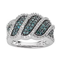 Sterling Silver 1-ct. T.W. Blue & White Diamond Wave Ring