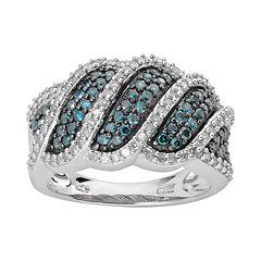 Sterling Silver 1 ctT.W. Blue & White Diamond Wave Ring