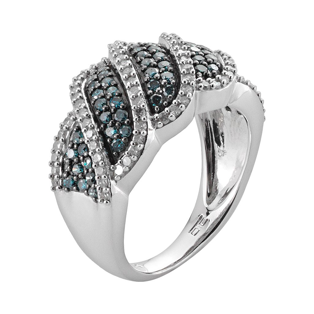 Sterling Silver 1-ct. T.W. Blue and White Diamond Wave Ring