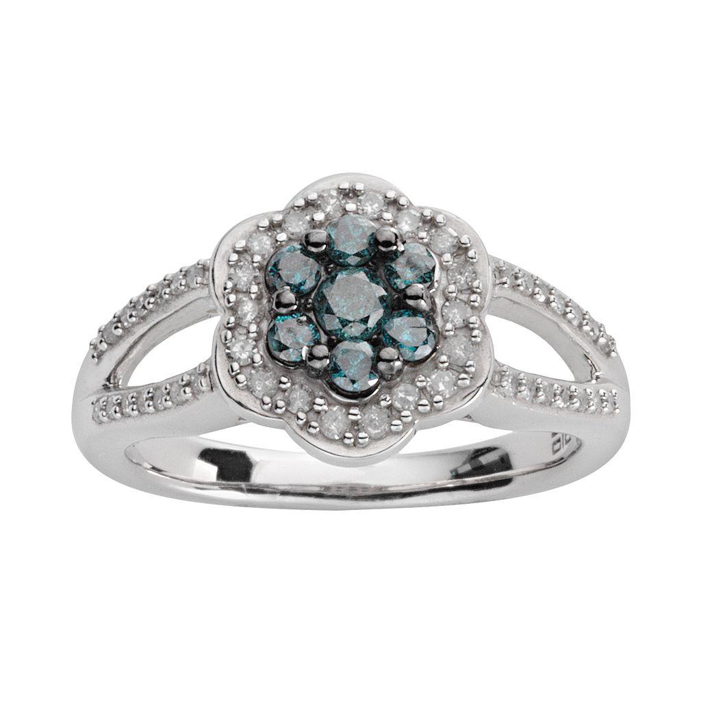 Sterling Silver 1/2-ct. T.W. Blue & White Diamond Flower Ring