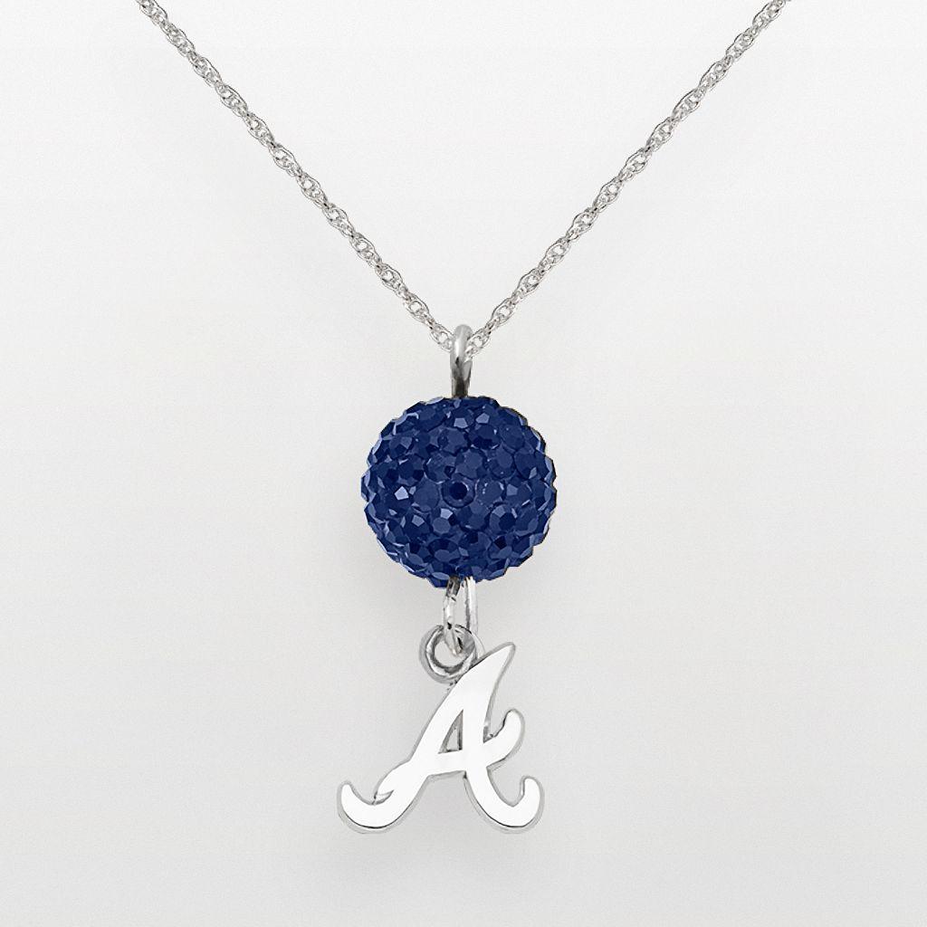 LogoArt Atlanta Braves Sterling Silver Crystal Ball Pendant