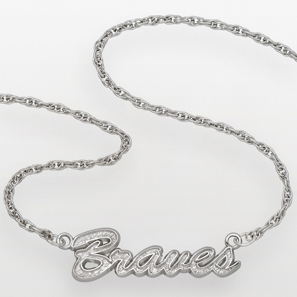 LogoArt Atlanta Braves Sterling Silver Script Necklace