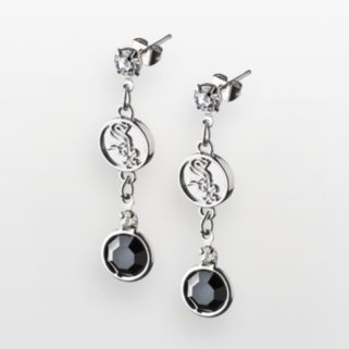 LogoArt Chicago White Sox Silver Tone Crystal Drop Earrings