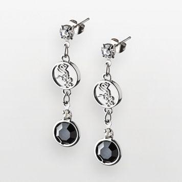 LogoArt Chicago White Sox Silver Tone Crystal Drop Earrings