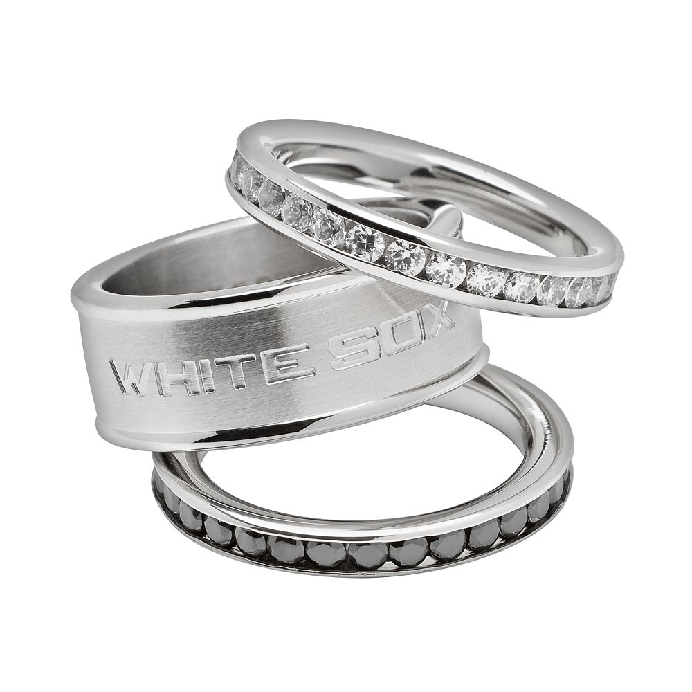 LogoArt Chicago White Sox Stainless Steel Crystal Stack Ring Set