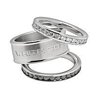 LogoArt Chicago White Sox Stainless Steel Crystal Stack Ring Set