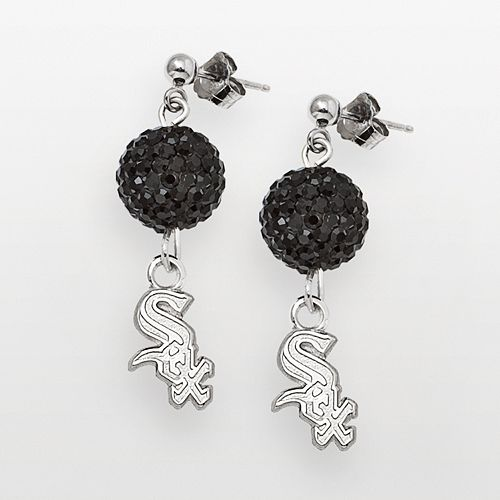 LogoArt Chicago White Sox Sterling Silver Crystal Ball Drop Earrings