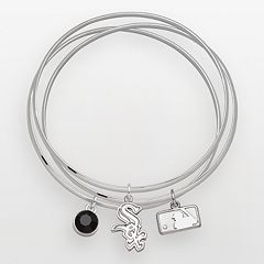 LogoArt Chicago White Sox Silver Tone Crystal Charm Bangle Bracelet Set