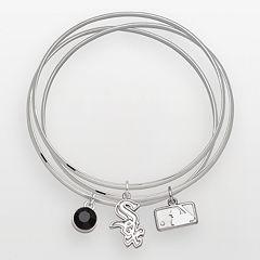 LogoArt Chicago White Sox Silver Tone Crystal Charm Bangle Bracelet Set
