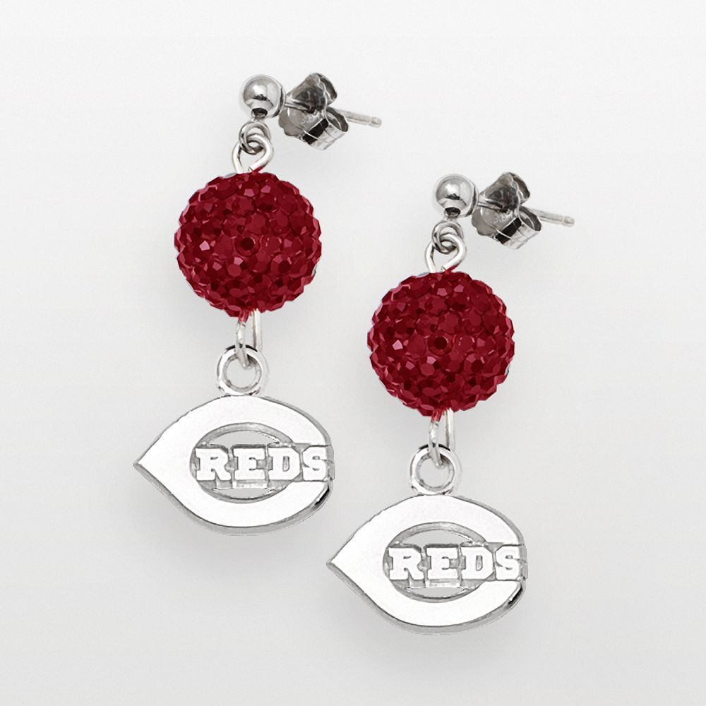 LogoArt Cincinnati Reds Sterling Silver Crystal Ball Drop Earrings