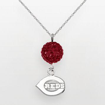 LogoArt Cincinnati Reds Sterling Silver Crystal Ball Pendant