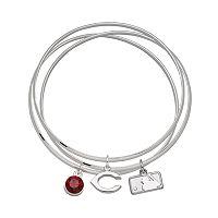 LogoArt Cincinnati Reds Silver Tone Crystal Charm Bangle Bracelet Set