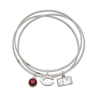 Cincinnati Reds Silver Tone Crystal Charm Bangle Bracelet Set