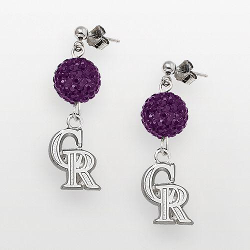 LogoArt Colorado Rockies Sterling Silver Crystal Ball Drop Earrings