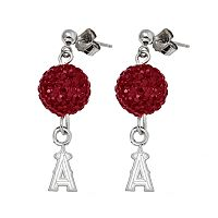 Los Angeles Angels of Anaheim Sterling Silver Crystal Ball Drop Earrings