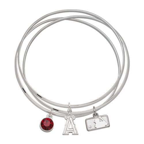 Los Angeles Angels of Anaheim Silver Tone Crystal Charm Bangle Bracelet Set