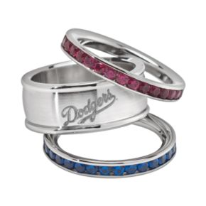 LogoArt Los Angeles Dodgers Stainless Steel Crystal Stack Ring Set