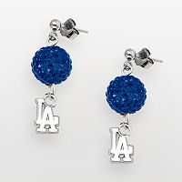 LogoArt Los Angeles Dodgers Sterling Silver Crystal Ball Drop Earrings