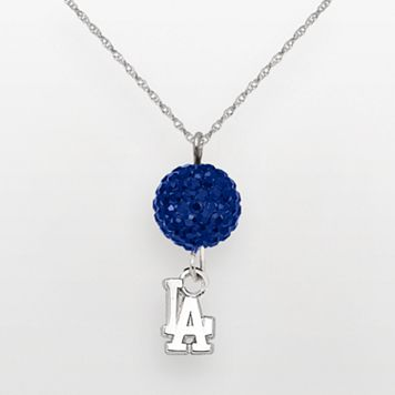 LogoArt Los Angeles Dodgers Sterling Silver Crystal Ball Pendant