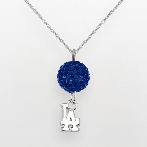 LogoArt Los Angeles Dodgers Sterling Silver Crystal Ball Pendant